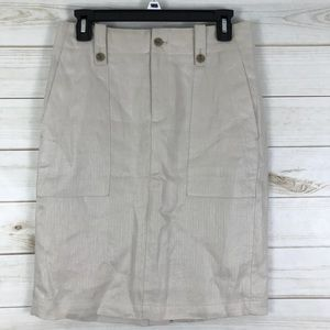J. Crew Linen Cargo Pencil Skirt 2 Lined